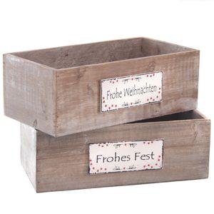 2er Set Holzkiste Frohe Weihnachten / Frohes Fest 28x14 Holzbox Geschenkkiste