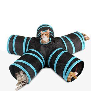5-Wege Katzentunnel Katzen Kätzchen Spielzeug zusammenklappbar Spieltunnel