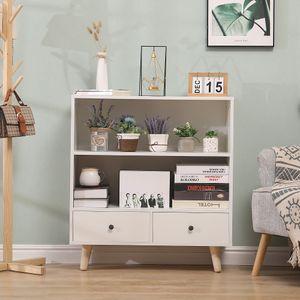 Bathrins Bücherregal Bücherschrank mit 2 Schubladen, 2 ein großes offenes Fach,Aufbewahrungsschrank für Wohnzimmer Schlafzimmer Büro-OV