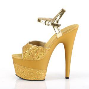 Pleaser ADORE-709-2G Riemchensandaletten gold, Größe:EU-37 / US-7 / UK-4