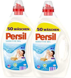 Persil Sensitive Gel Flüssigwaschmittel Waschmittel Wäsche 2x50 Waschladungen
