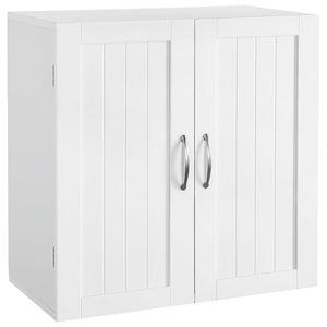 Yaheetech Hängeschrank mit 2 Türen, Badschrank, Wandschrank, Küchenschrank, Medizinschrank, Weiß