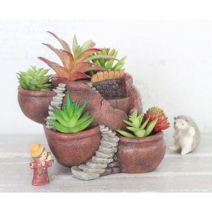 Kreative Pflanzen Gartengestaltung Topf fünf kliene Tongefäß für Garten Tisch Balkon Deko, Toller Geschenkideendekor