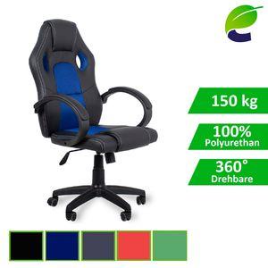 ecoMI - Gaming Stuhl Bürostuhl Schreibtischstuhl Computer Racing Sportsitz Chefsessel Drehstuhl - Blau