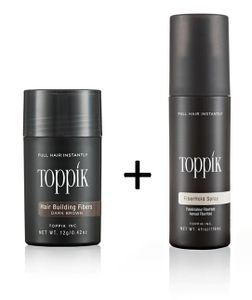 TOPPIK SET 12 g. Haarfasern + Fixier Spray 118ml. Streuhaar, Farbton:Mittelbraun (Medium Brown)