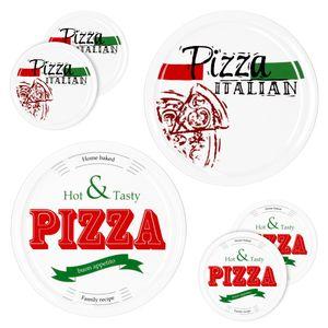 6er Set Pizzateller Pizza Italian & Hot and Tasty Ø 30cm weiß Pizza XL-Teller