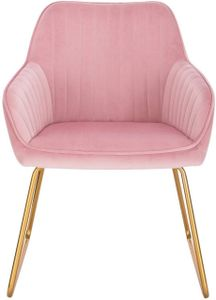 WOLTU Esszimmerstuhl Küchenstuhl Polsterstuhl Wohnzimmerstuhl mit Armlehne, Sitzfläche aus Samt, Gold Beine aus Metall, Rosa