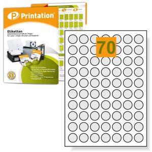 Printation Runde Universal Etiketten 24 mm Durchmesser 7000 Markierungspunkte selbstklebend bedruckbar - 100 DIN A4 Bogen mit 24mm Labels rund