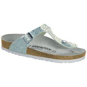 BIRKENSTOCK Gizeh Damen Zehentrenner Metallic Stones Aqua Schuhe, Größe:39