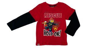 Lego Feuerwehr Rescue - Jungen Langarmshirt - Rot/Schwarz - 100% Baumwolle - , Größe:128