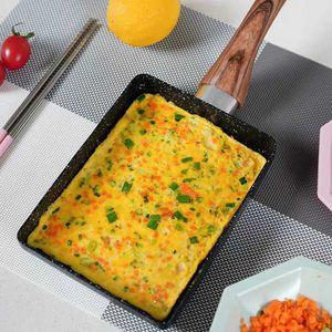 Rechteckige Pfanne Grill Bratpfanne Omelett Eierpfanne Pan Brat Pfanne 34.5*15.6*3.5CM