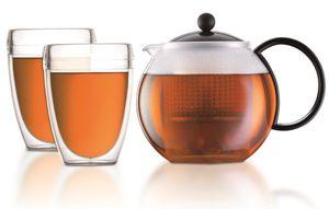 Bodum Assam, Teekannenset, 1000 ml, Schwarz, Transparent, Borosilicate glass, Edelstahl, 2 Stück(e)