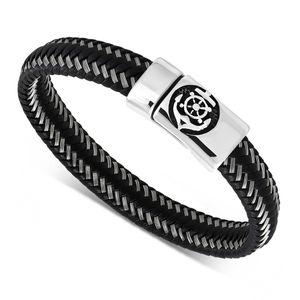 Lederarmband Anker Steuerrad Ruder Herren Armband geflochtenes Rindsleder mit Edelstahl Autiga®  22 cm