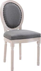CLP Stuhl Lorient Stoff Mit Holzgestell und Sitzhöhe von 52 cm, Farbe:grau, Gestell Farbe:Antik-weiß
