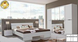 Schlafzimmer komplett 4-teilig Anna mit Kleiderschrank 225cm weiß