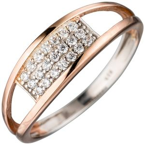 JOBO Damen Ring 925 Sterling Silber bicolor mit Zirkonia Silberring Größe 56