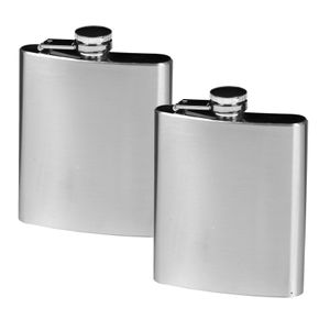 Edelstahl Flachmann Taschenflasche 200 ml 2er Set