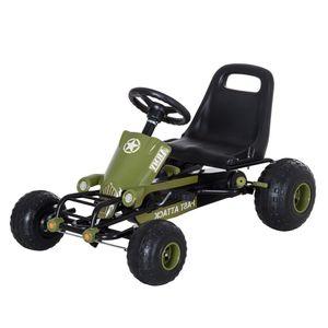 HOMCOM Go Kart Kinder Tretauto Tretfahrzeug mit Handbremse ab 3 Jahre Grün 99 x 65 x 56cm