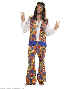 Hippy Kostüm für Männer 70er Jahre - Flower power 70ties XL - 54/56