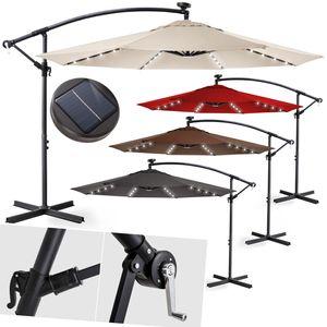 KESSER® Alu Sonnenschirm LED Ø300cm Ampelschirm + Handkurbel Schirm Gartenschirm, Farbe:Grau