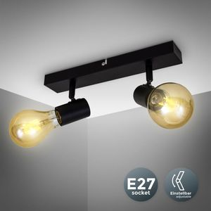 Vintage Deckenleuchte I Retro Deckenlampe exkl. 2x max. 60W E27 Leuchtmittel I Landhausstil Deckenstrahler I B.K.Licht
