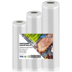3 Rollen Vakuumierbeutel Vakuumbeutel Vakuumierfolie Vakuumrollen für Lebensmittelechte Konservierung und Lagerung BPA frei & LFGB