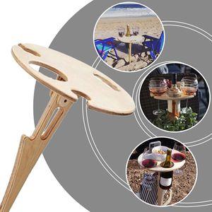 Klappbarer Weintisch im Freien, einlagiger Weinglashalter, tragbarer Strand-Weintisch, Picknick-Camping-Weintisch, für den Außenbereich, Garten, Reisen (Holzfarbe)