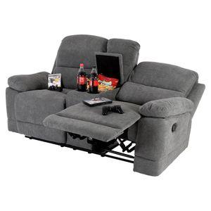 Raburg 2er XXL Kinosessel FLIX in MITTEL-GRAU  - Soft-Touch-Mikrofaser, Heimkino-Sessel, EASY-Lift-Funktion, verstellbarer Fernsehsessel mit Liege- & Relaxfunktion, Taschenfederkern, mit 2 Getränkehalter & Fach, für 2 Personen