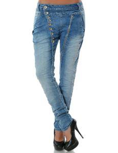 Damen Boyfriend Jeans Hose Reißverschluss Knopfleiste Stretch DA 14145 Farbe Hellblau Größe XL / 42