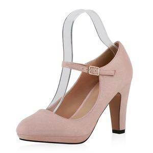 Mytrendshoe Damen Pumps Mary Janes High Heels Blockabsatz 820054, Farbe: Rosa, Größe: 39