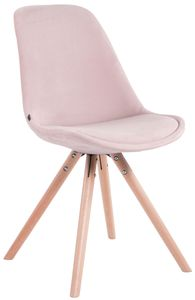 CLP Besucherstuhl Toulouse Samt Rund mit Sitzpolster und runden Holzbeinen, Farbe:pink, Gestell Farbe:Natura (eiche)