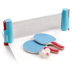 Tischtennis Set 2 Schläger + 3 Bälle+ Netz Tennis Indoor Outdoor  Blau von Meteor