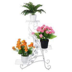 Meco 3 Stufen Pflanzregal Blumentreppe Pflanzenständer Garten Metall
