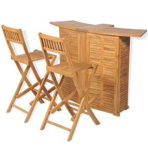 Huicheng 3-tlg. Bistro Set Gartenbar Gartenmöbel Balkonmöbel mit Klappstühlen und Klapptisch Massivholz Teak