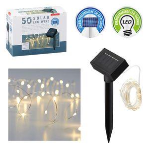 1x SOLAR LED-Lichterkette, Kupferdraht , 50x LED, 5.90m