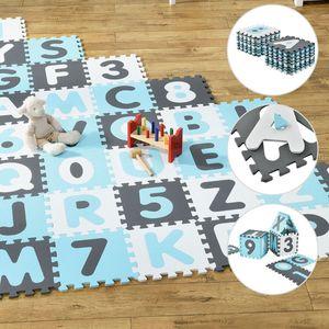 Juskys Kinder Puzzlematte Noah 36 Teile mit Buchstaben A-Z & Zahlen 0-9 - rutschfest – blau für Jungen - Puzzle - ab 10 Monate – Spielmatte
