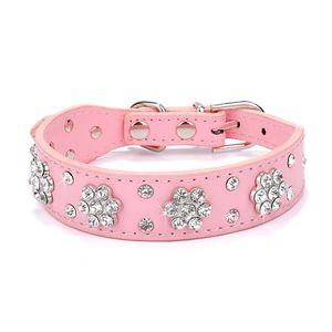 Strass Katze Hundehalsband Leder Haustier Welpe Halskette Bling Kristall Nietenhalsbänder, 2.5 cm x 37 cm, Rosa