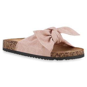 Mytrendshoe Damen Sandalen Pantoletten Hausschuhe Schleifen Schuhe 830663, Farbe: Rosa, Größe: 39
