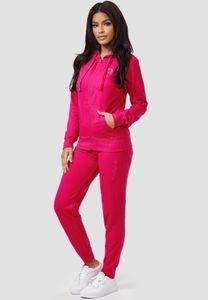 Damen Basic Trainingsanzug Fitness Jogginganzug Yoga Set Sweat Hoodie & Pants Sportanzug Big Size , Farben:Pink, Größe:4XL