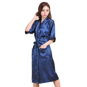 Frauen y einfarbige Seide Midi Kleid Bad Robe Taille Gürtel Taschen Nachtwäsche  Dunkelblau  XXL