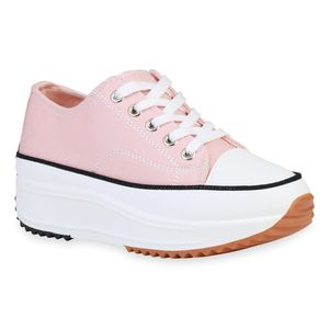 Giralin Damen Plateau Sneaker Keilabsatz Schnürer Profil-Sohle Schuhe 836214, Farbe: Altrosa, Größe: 37