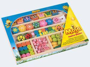 LENA® 32022 - Holzperlen Biene Maja Party Beads, Holzkassette, Bastelperlen 4006942864607