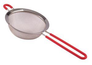 Edelstahl-Sieb 14cm Küchensieb Abtropfsieb Teesieb Mehlsieb Nudelsieb Metallsieb, Farbe:rot