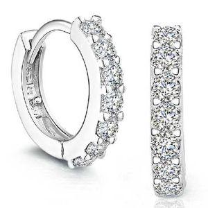 Sterling Silber Strass Creolen Diamant Ohrstecker fš¹r Frauen