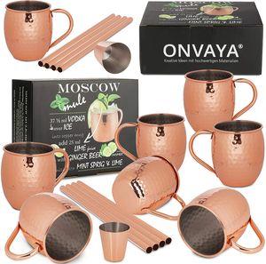ONVAYA® Moscow Mule Becher 2 x 4er Set mit 4 Strohhalmen und Barmaß - Klassik