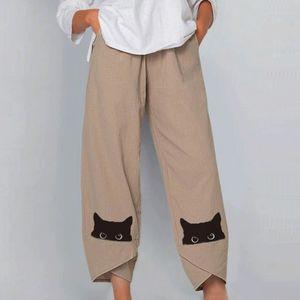 Damen Sommer lässige lose Baumwolle und Leinen bestickte Hose mit weitem Bein Größe:XL,Farbe:Ocker