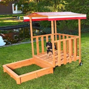 Sandkasten Spielhaus Sandbox + Spielveranda Sandkiste Holz mit Dach Deckel NEU Kinder Holzsandkasten UV Schutz Sand Plane Abdeckung NEU