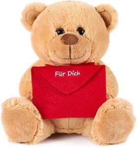Brubaker Teddy Plüschbär mit Umschlag Rot - Für Dich - 25 cm - Teddybär Plüschteddy Kuscheltier Schmusetier - Braun Hellbraun
