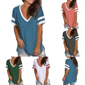 Damen Sommer Kurzarm Loose Top T-Shirt Pullover,Farbe: Blau,Größe:M