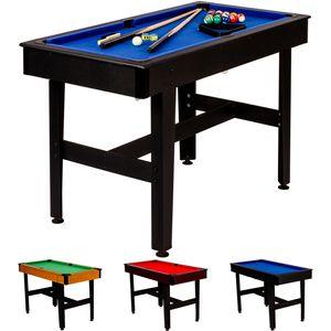 4ft Billardtisch COMPACT, schwarzes Dekor, blaues Tuch